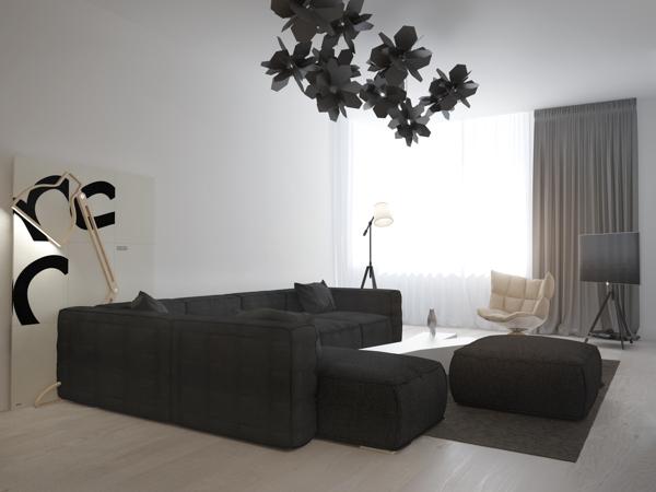 别致的树叶状灯具:现代极简公寓欣赏