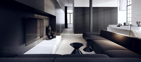 黑白两色简约风格公寓设计欣赏