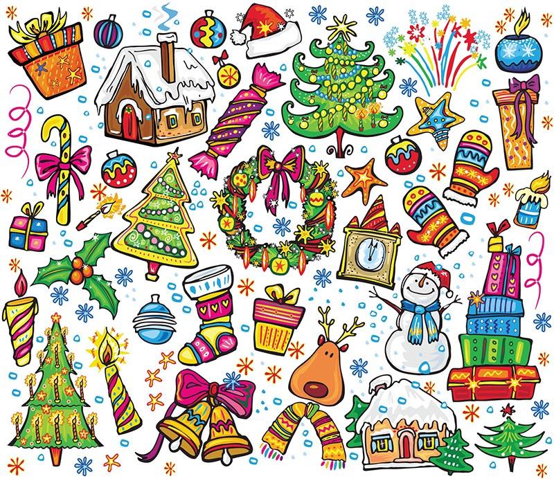 可爱圣诞主题元素矢量素材