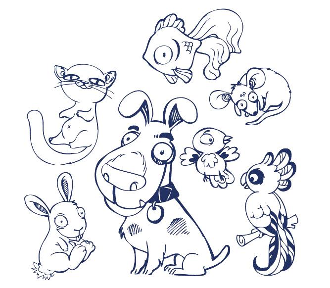 ai格式,手绘,兔子,狗,鹦鹉,鸟,老鼠,猫,鱼,矢量图