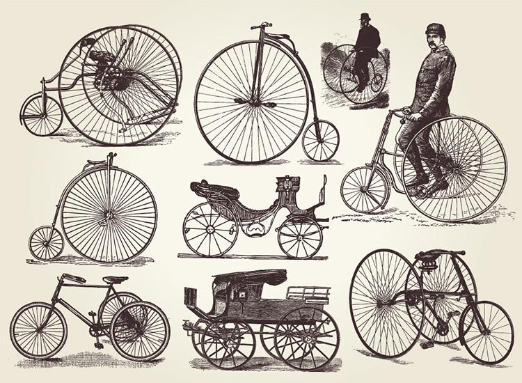 欧洲老式自行车矢量素材