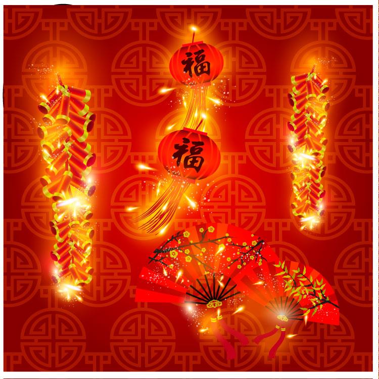 素材 鞭炮/AI格式,春节,鞭炮,扇子,灯笼,新年,福字,喜庆,矢量图...