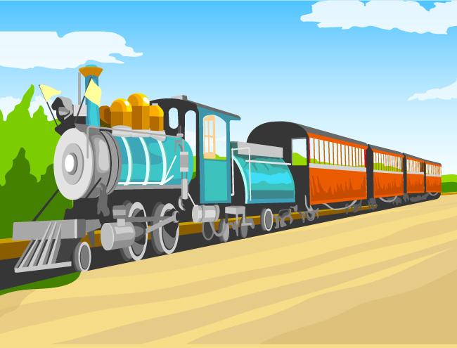 卡通老式火车矢量素材 - 设计之家