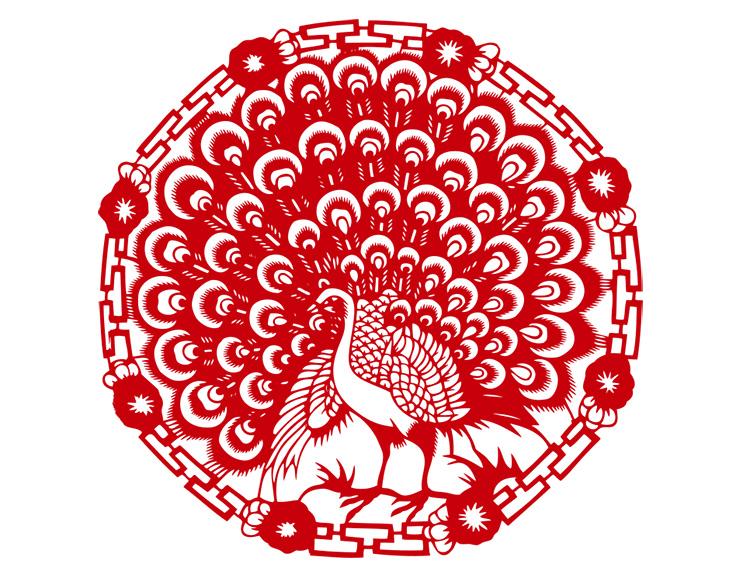 剪纸图案大全简单图解 动物孔雀