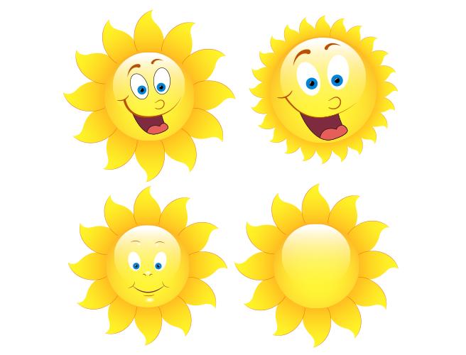 可爱的卡通太阳矢量素材