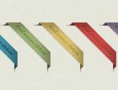 五色斜角标签PSD素材