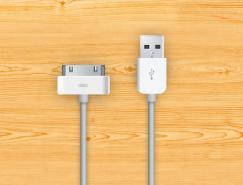 苹果USB数据线PSD素材
