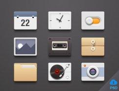9款手机应用图标PSD素材