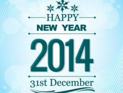 蓝色 条纹背景 2014新年快乐 矢量素材 设计之