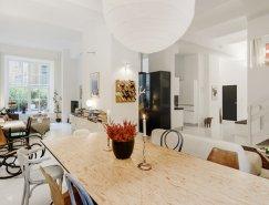 斯德哥尔摩开放式布局的白色复式公寓