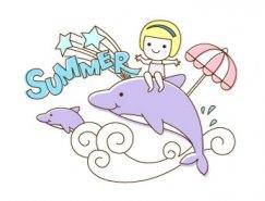 快乐夏天卡通主题矢量素材