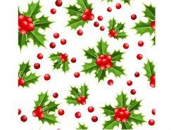 圣诞冬青叶无缝背景矢量素材