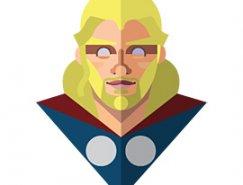 扁平化风格设计的超级英雄