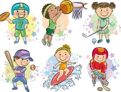 体育运动主题的卡通人物矢量