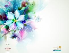 水彩花卉女孩背景矢量素材