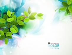 水彩绿叶背景矢量素材