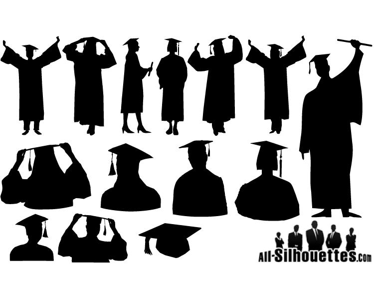 ai格式,人物剪影,毕业帽,学士帽,学士服,剪影,毕业生,矢量素材图片