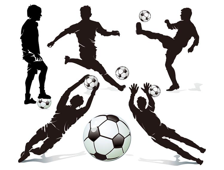 足球运动员运动剪影矢量素材