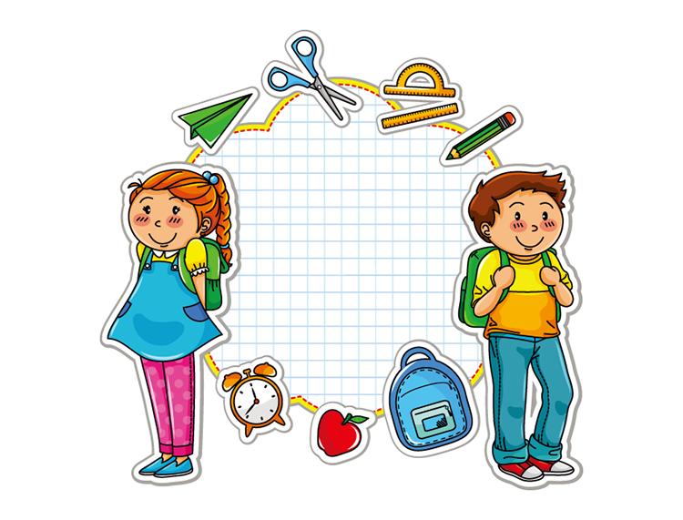eps格式,背书包的学生,男孩,女孩,闹钟,苹果,书包,纸飞机,剪刀,圆规