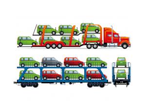 大型轿车运输车矢量素材
