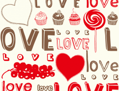 情人节LOVE无缝背景矢量素材