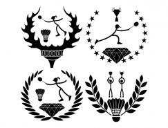 4款羽毛球运动徽章矢量素材