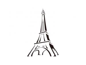 简约线描风格埃菲尔铁塔矢量素材