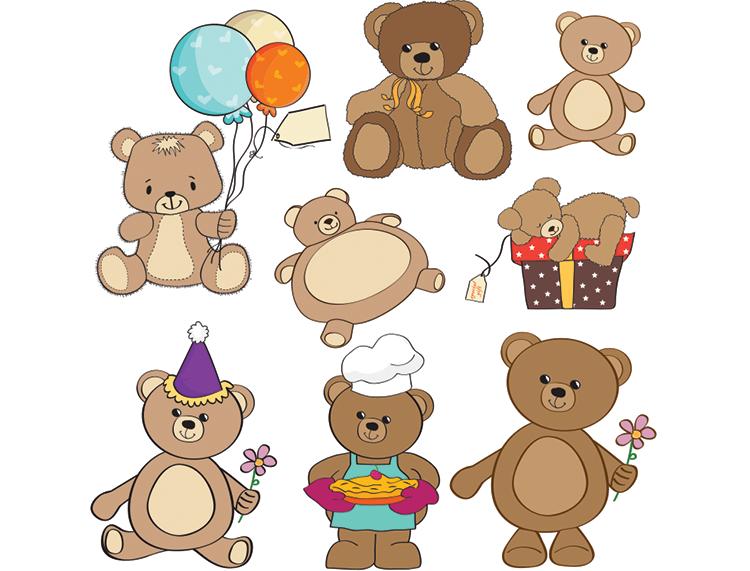 可爱卡通小熊矢量素材(1)