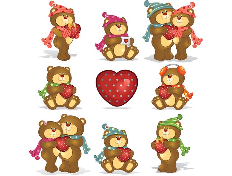 可爱卡通小熊矢量素材(2)