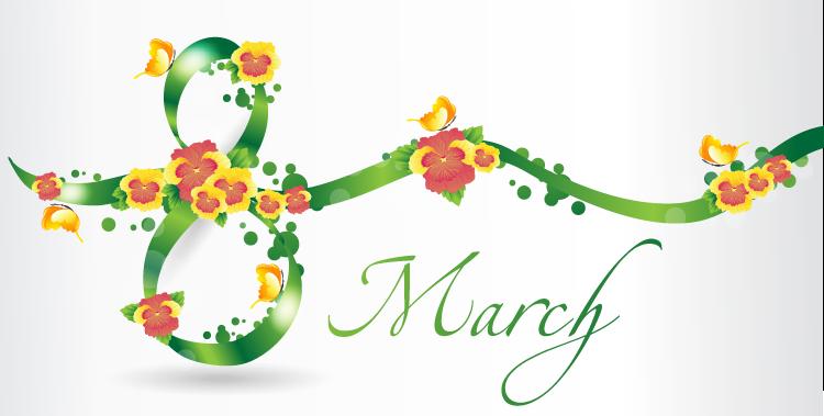 三八妇女节:绿色花朵彩带矢量素材