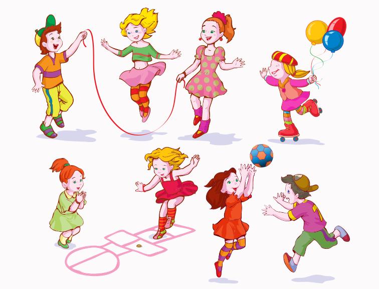 玩耍的可爱儿童矢量素材