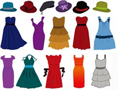 各种衣物帽子和鞋子矢量素材