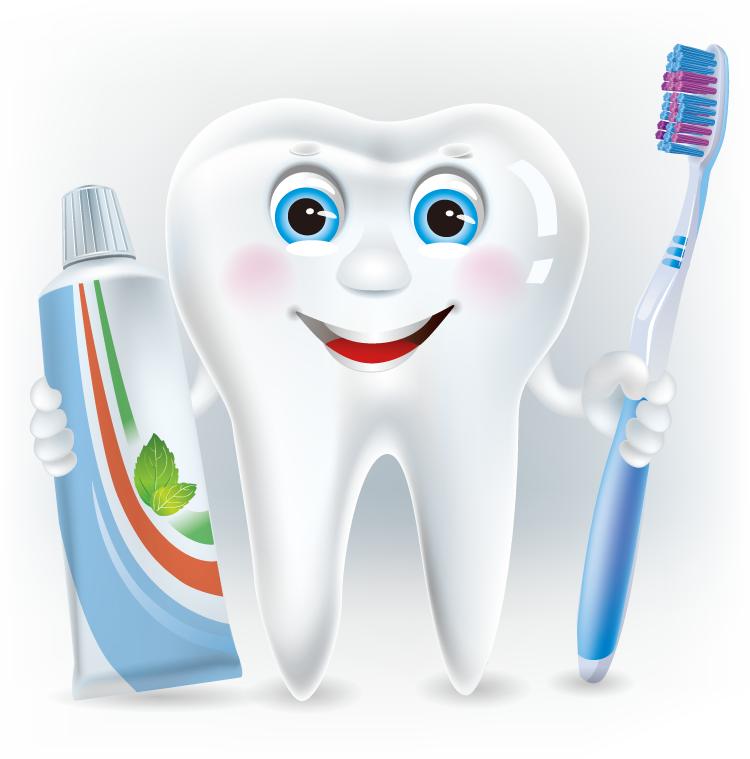 可爱的卡通牙齿和牙膏矢量素材(2)