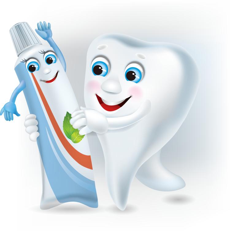 可爱的卡通牙齿和牙膏矢量素材(3)