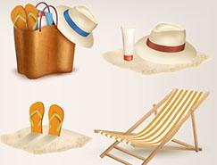 海滩旅游元素矢量素材