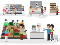 超市购物场景矢量素材