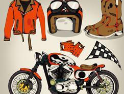 摩托車運動元素矢量素材