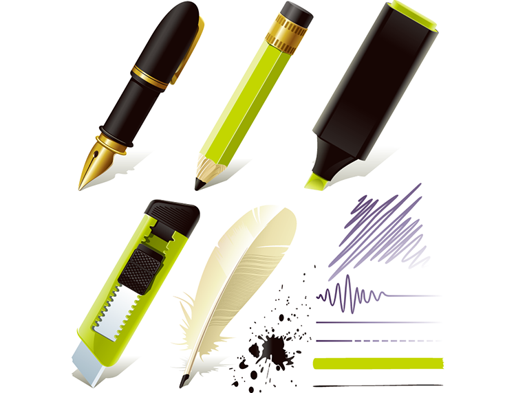 多款笔和美工刀矢量图