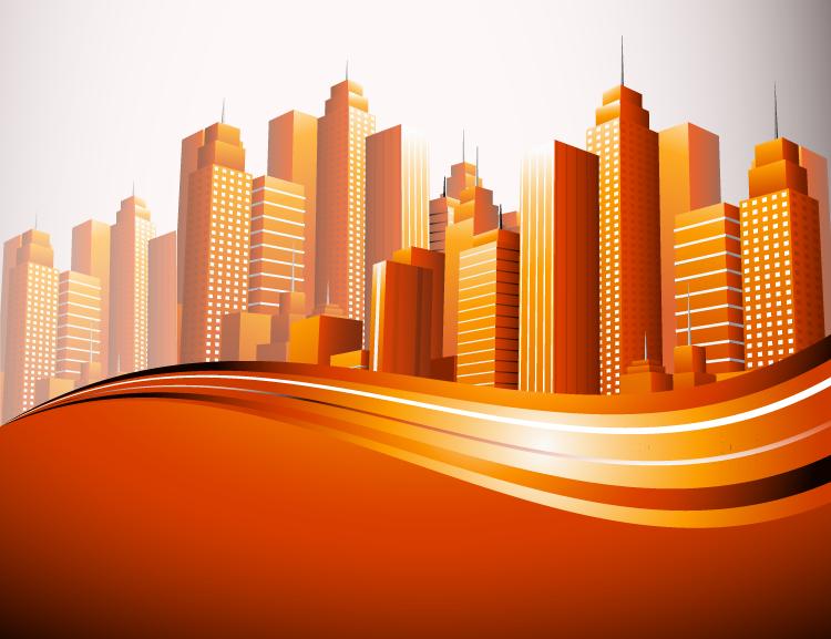 繁华城市高楼大厦背景矢量素材