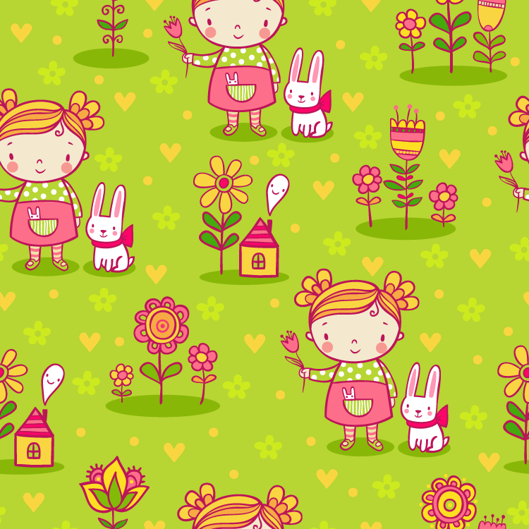 可爱卡通女孩和花朵无缝背景矢量素材(1)