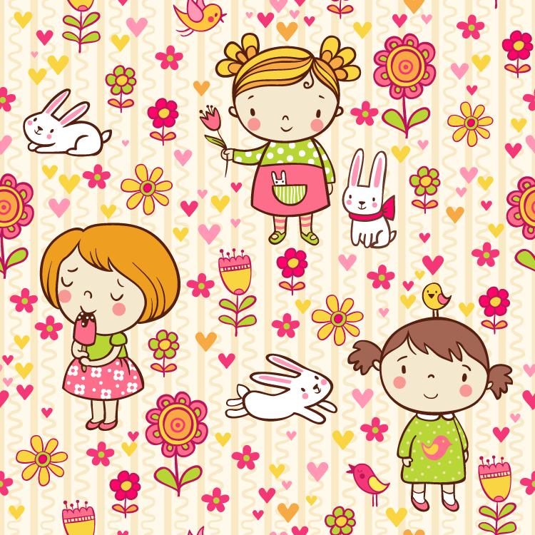 eps格式,无缝背景,图案,花朵,女孩,可爱,卡通,小兔,心,圆点,矢量图