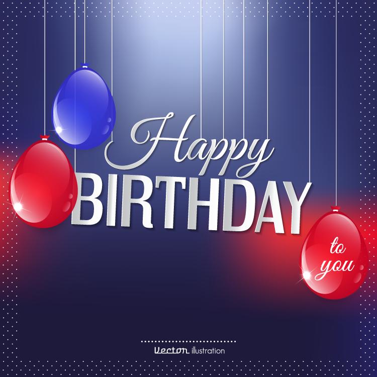 蓝色背景的生日快乐贺卡矢量素材