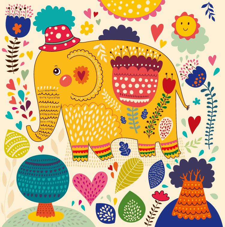 植物背景的可爱卡通大象矢量素材