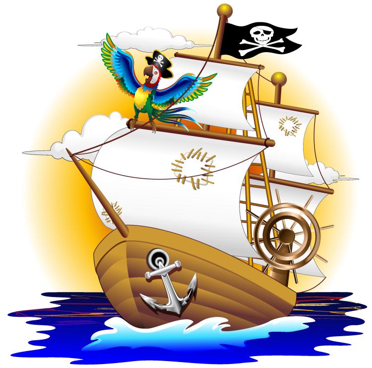 可爱的卡通海盗船和鹦鹉矢量素材