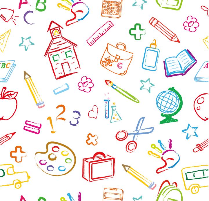 eps格式,学习元素,学校,无缝图案,矢量背景,调色板,铅笔,书包,书