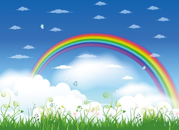 eps格式,绿地,绿草,蝴蝶,白云,彩虹,风景,矢量图