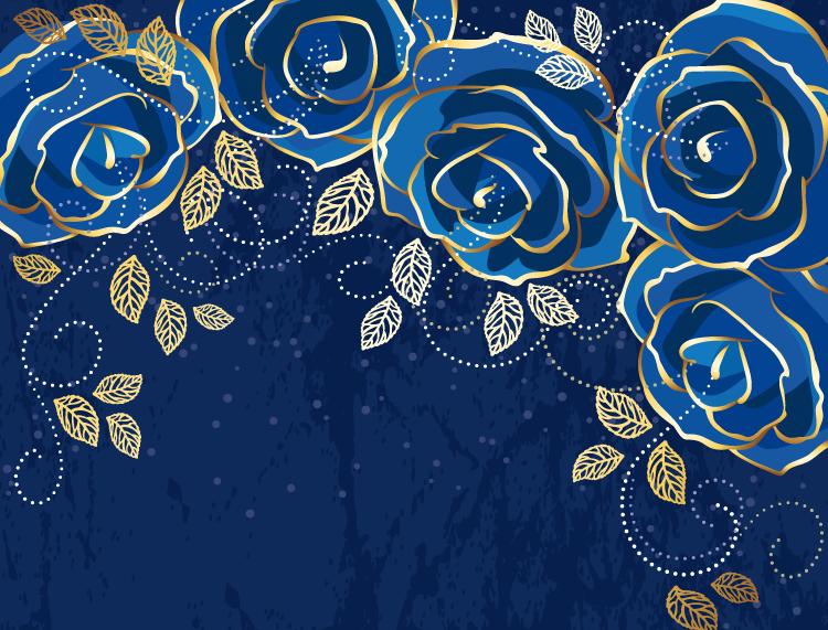 高贵优雅的蓝色玫瑰背景矢量素材