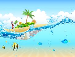 美丽的蓝天海水和沙滩矢量素材