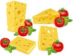 西红柿和奶酪矢量素材