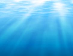 太陽照射的水下背景矢量素材